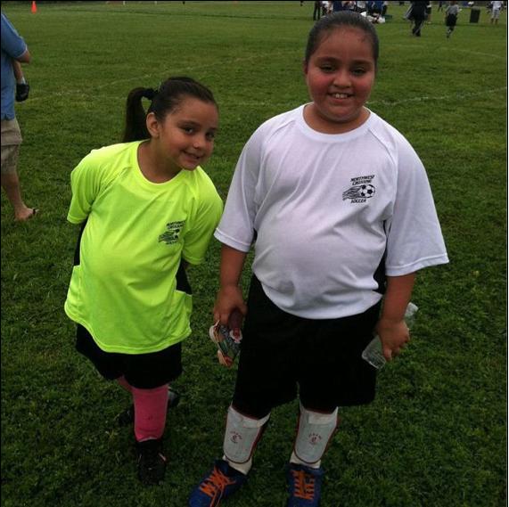 Alyssa and Makayla play soccer