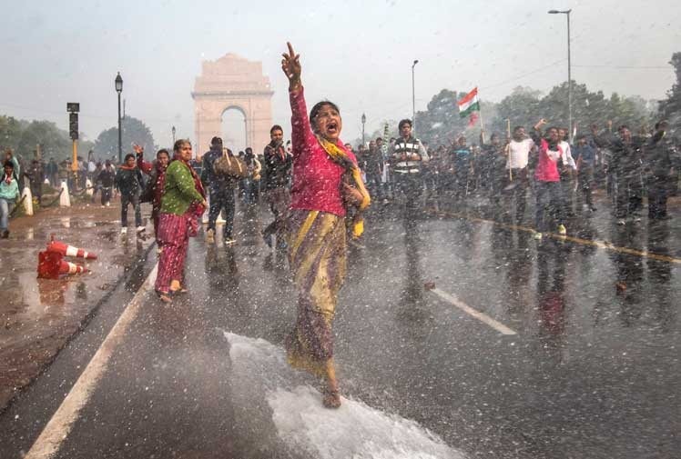 Indian women marching in rape protest