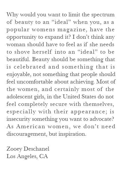 Zooey Deschanel Vogue Letter