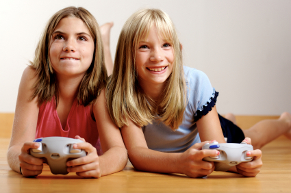 Girls-playing-video-game