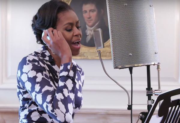 Michelle-Obama-recording-vocals